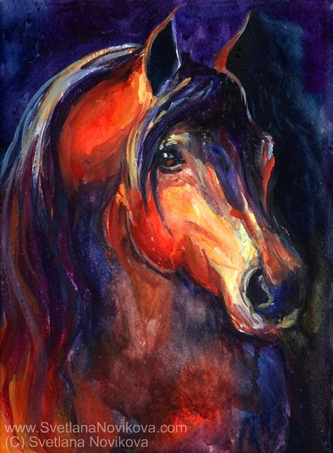 Arabian Horse Painting Watercolor On Paper Signed