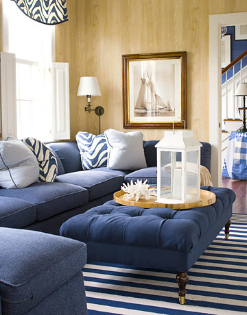 Classic Blue White Nantucket Living Room Faux Bois Wall