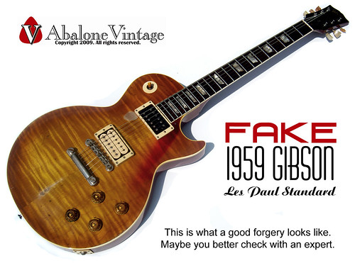 FAKE Gibson 1959 Les Paul Standard guitar replica forgery bogus scam. Vintage guitar authentication. by eric_ernest, on Flickr