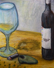 art, artwork, wine glass, glass bottle, painting, drinkware, stemware, bottle, glass, drawing, still life photography, wine bottle, still life, modern art, acrylic paint,