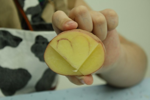potato stamp HEART