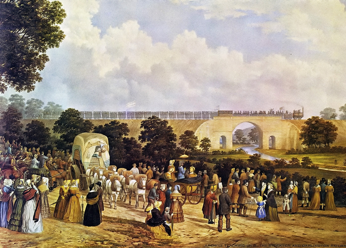 Opening of the Stockton and Darlington Railway in 1825 by John Dobbin