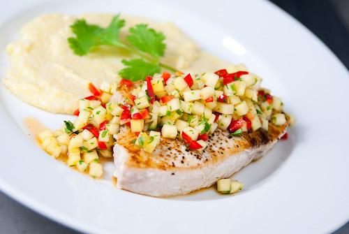 Grilled Fish with Green Mango Pico De Gallo