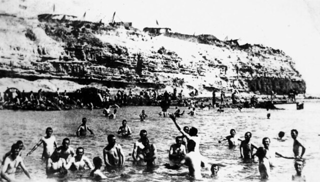 ANZAC soldiers enjoy a swim after returning from the trenches of the Dardanelles