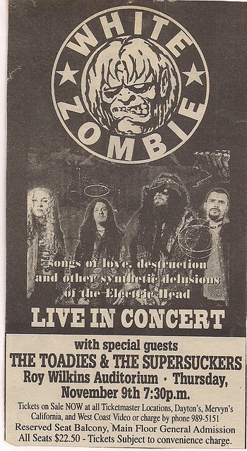 11/09/95 White Zombie/The Toadies/Supersuckers @ Minneapolis, MN (Ad)