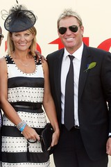 Shane Warne and partner in the Birdcage - Derby Day 2009