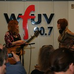 Patty Larkin & Claudia Marshall on the air on and for Marquee Members in Studio A on 3/18/10 .  photos copyright 2010 -gaylemiller.com