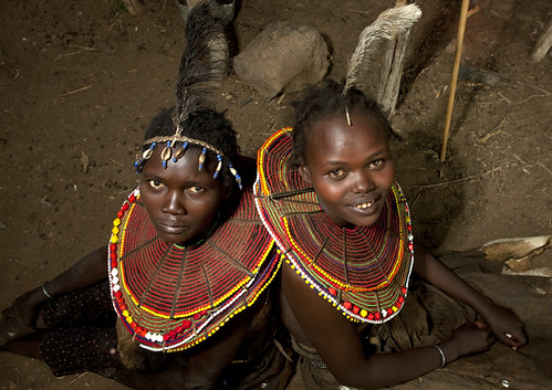 Pokot girls with feathers on the head - Kenya