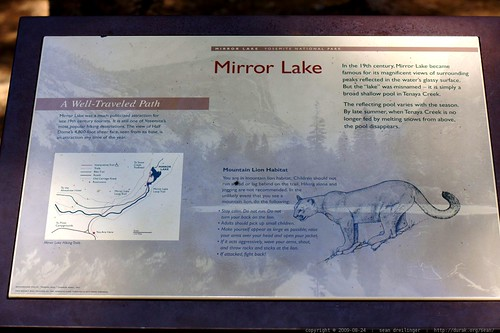 mirror lake mountain lion warning    MG 4046