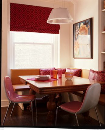 : Banquette seating + modern pink chairs | Flickr - Photo Sharing