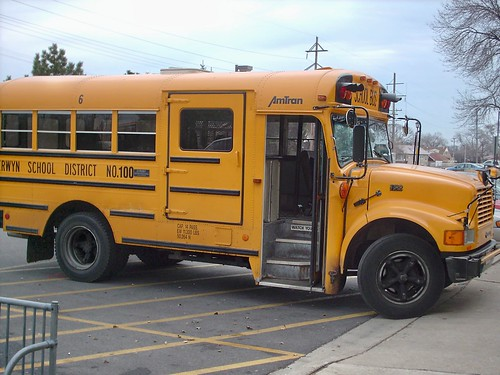 Berwyn School District 100 International school bus.  Berwyn Illinois USA. November 2007. by Eddie from Chicago