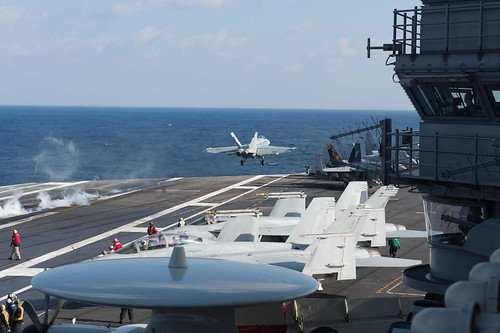 Mon, 02/13/2017 - 09:03 - 170213-N-MU198-119 MEDITERRANEAN SEA (Feb. 13, 2017) An F/A-18F Super Hornet attached to the 'Black Lions' of Strike Fighter Squadron (VFA) 213 launches from the aircraft carrier USS George H.W. Bush (CVN 77). The George H.W. Bush Carrier Strike Group is conducting naval operations in the U.S. 6th Fleet area of operations in support of U.S. national security interests. (U.S. Navy photo by Mass Communication Specialist 3rd Class Danny Ray Nunez Jr./Released)