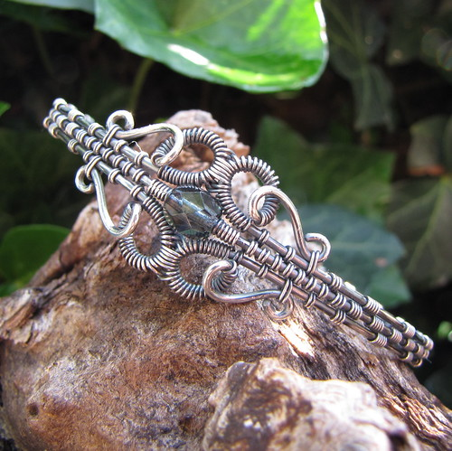 jolene bangle~handmade wire wrapped sterling silver Czech glass bracelet