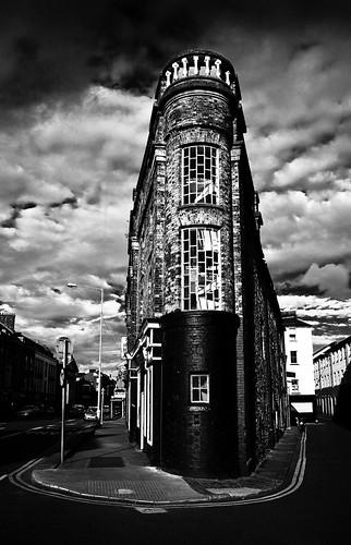 road street ireland windows sky bw cloud white black architecture corner canon buildings dark cork