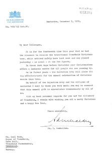 1976-12-07: Takkebrev fra borgermesteren i Amsterdam (1976)