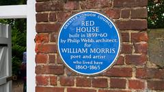 Photo of Red House, Bexleyheath, Philip Webb, and William Morris blue plaque