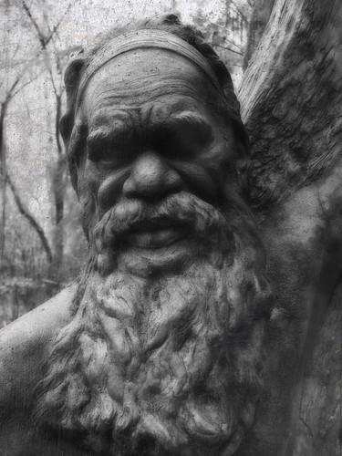 bw sculpture man australia victoria textures layers aboriginal photoshopelements itg williamrickettssanctuary ortoneffect canona710 platinumphoto mtdandenongnationalpark