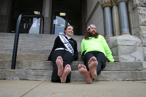 Miss WV Erica Goldsmith and Tellman on the steps of the Wood County Commission building