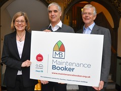Claire Walker, CEO National Churches Trust, Michael Murray, Head of Church Support National Churches Trust and Luke March DL, Chairman National Churches Trust with the MaintenanceBooker logo.