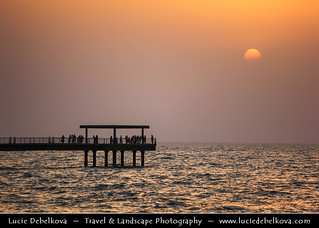 Kuwait - Sunset Behind Layer of Dust at Souq Shark
