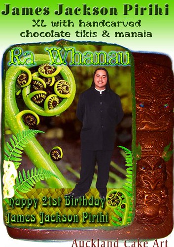 CHOCOLATE TIKI KORU FERN FROND BIRTHDAY CAKE