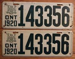 ONTARIO 1920 ---LICENSE PLATE PAIR, SIX DIGIT SERIAL NUMBER