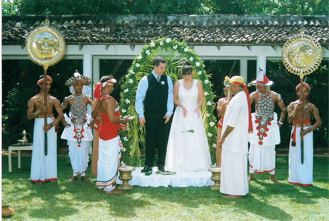 Poruwa Wedding Ceremony in a Sri Lankan Hotel with traditional