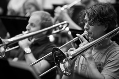 classical music, musician, trombone, musical ensemble, musical instrument, music, trumpeter, monochrome photography, jazz, entertainment, monochrome, brass instrument, black-and-white,