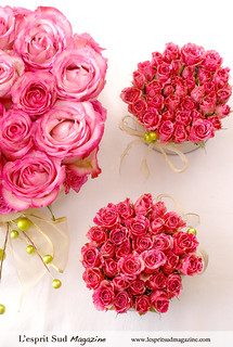 Pink rose centerpieces