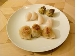 meal(0.0), dim sum food(1.0), breakfast(1.0), momo(1.0), food(1.0), dish(1.0), shumai(1.0), dumpling(1.0), pierogi(1.0), jiaozi(1.0), cuisine(1.0),