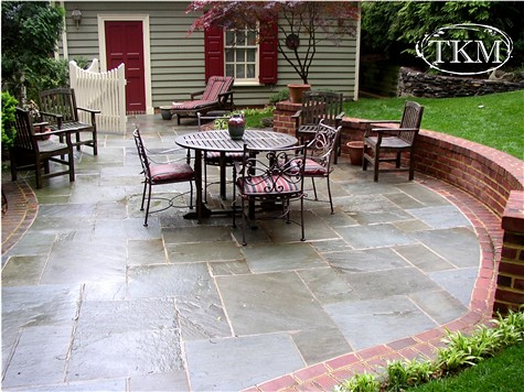 Mortared Flagstone Patio With Brick Borders And Seat Wall Flickr Photo Sh