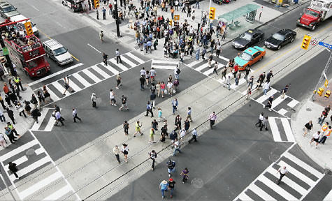 pedestrian scramble intersection returning to the lower mainland