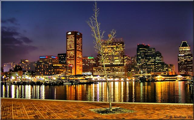 Baltimore's Inner Harbor at Night
