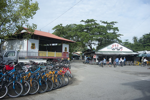 Wayang stage and bicycle rentals
