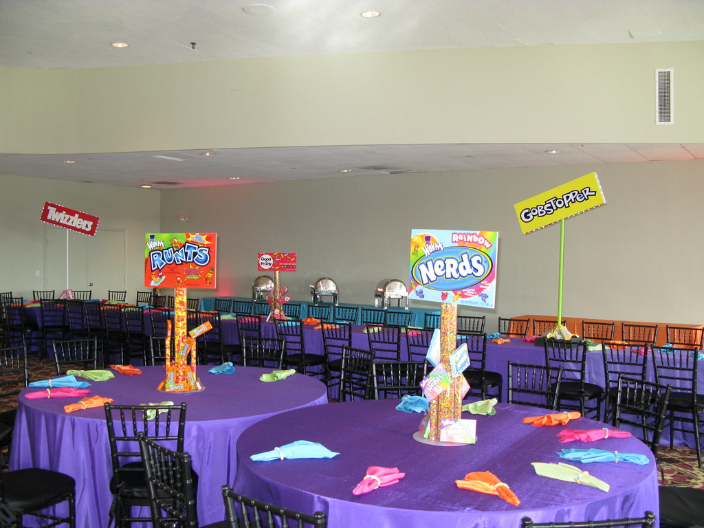 Classroom Decoration Ideas For Quinceaneras ~ Candy themed bat mitzvah centerpiece blue hills country