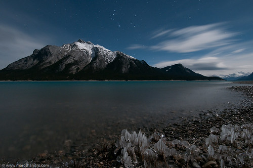 ca winter lake canada ice night stars moonlit alberta formations davidthompsonhwy