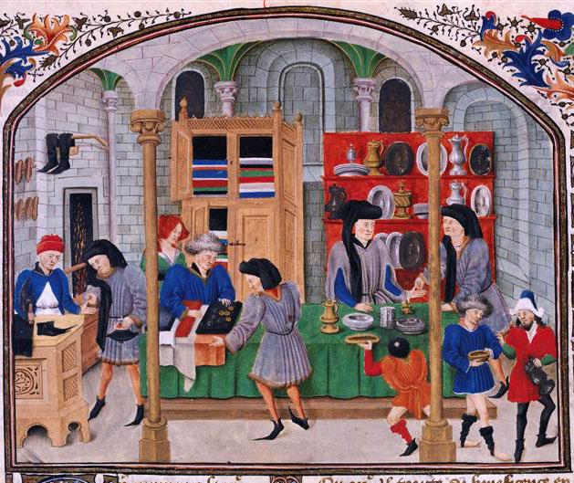6. Escena de la época que representa un mercado medieval. Autor, Desconocido