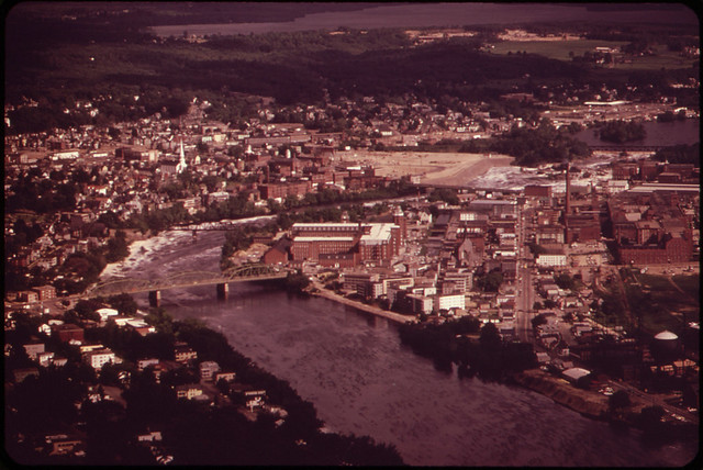 The Androscoggin River Flows between Lewiston (Eastern Shore) and Auburn (Western Shore). Lewiston Is the State's Foremost Textile Center 06/1973 by Charles Steinhacker.