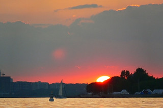 Image of Hanlans Point Beach (Clothing Optional) near High Park. city sunset red urban orange sun toronto ontario canada colour beach landscape island centre wards hanlanspoint