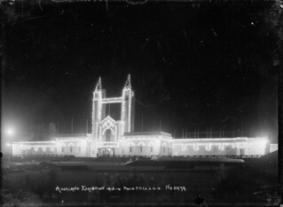 View of the Palace of Industries and towers, Auckland Exhibition, taken at night to show the illuminations, 3 December 1913