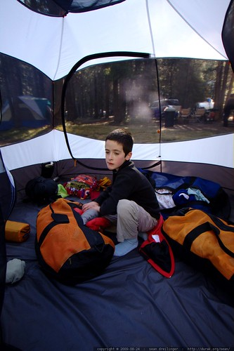 flynn packing up a tent all by himself    MG 3862