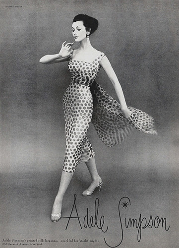 Dovima modelling Adele Simpson by Richard Avedon