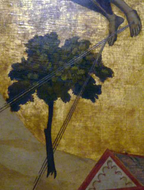 Giotto, St. Francis of Assisi Receiving the Stigmata, c. 1295-1300 with detail of rays
