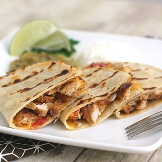 Grilled Quesadillas with Chicken, Tomatoes & Onions