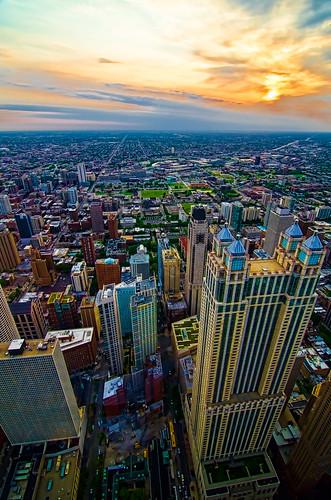 sunset chicago illinois chicagoist johnhancockobservatory