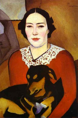Altman, Nathan (1889-1970) - 1911 Lady with a Dog. Portrait of Esther Schwartzmann (Russian Museum)