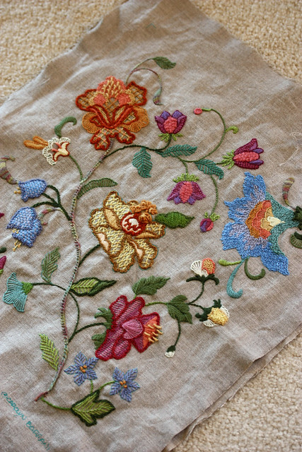 Crewel embroidery pillow flickr photo sharing
