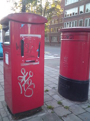 red, post box, letter box,