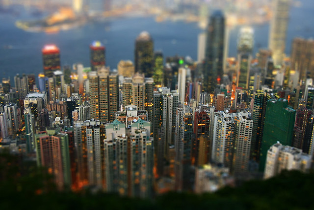 Hong Kong skyline tilt shift