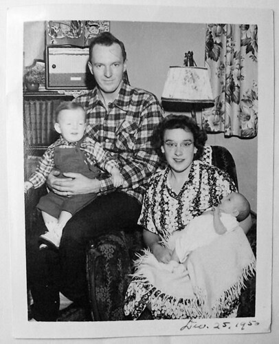 1950 Christmas Family man woman baby kids vintage photo 1950s black and white